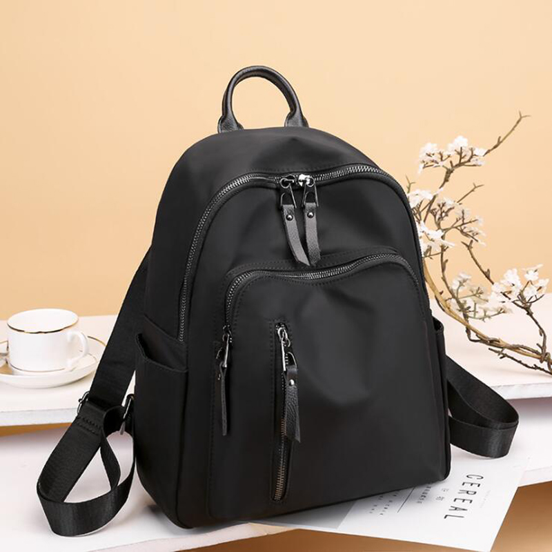 Casual Oxford Women Backpack Black Waterproof Nylon School Bags For Teenage Girls Fashion Travel Backpack Tote Mochila