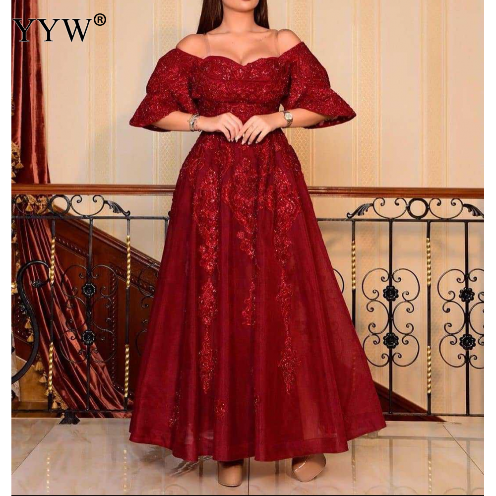Women Evening Party Dress Red Vestidos Long Dress Sexy Party Dresses Ruffles Off Shoulder Plus Size Women Dresses 4