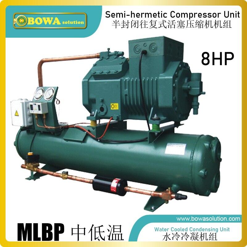 La unidad de condensación refrigerada por agua de 8HP con compresor de recepción es una gran opción para máquinas de mariscos o cámaras frigoríficas