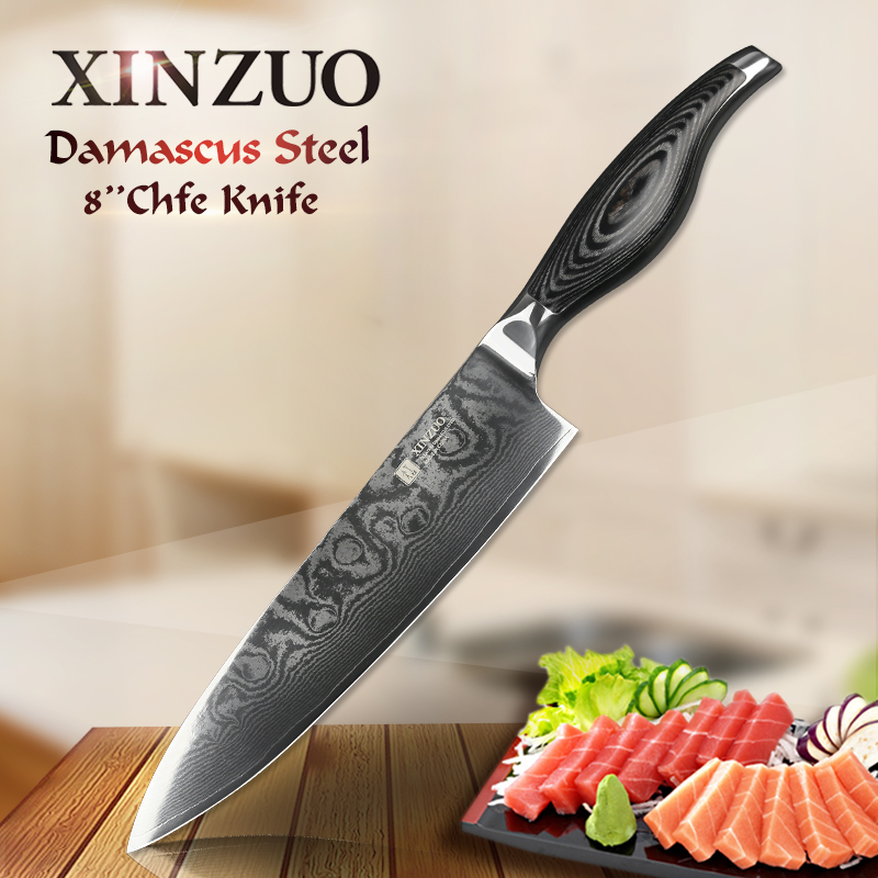 XINZUO 8 inches Chef Knife 73 layers Japanese Damascus Kitchen Knife Kitchen Tool 62 Hrc Carving Gyuto Knife Pakka Wood Handle
