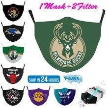Fábrica de basquete equipe série 3d impresso rosto tecido máscaras moda reutilizável adulto crianças lavável máscara proteção respiratória