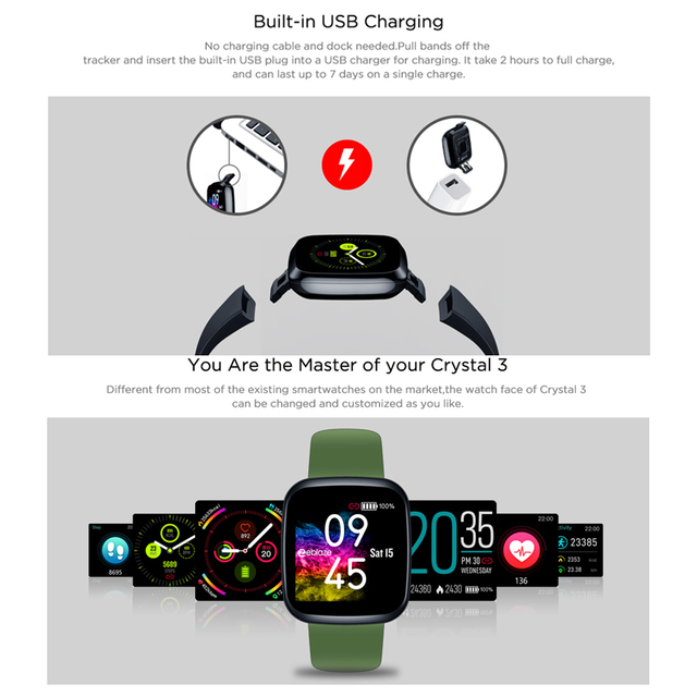 [Value King] New Zeblaze Crystal 3 Smartwatch WR IP67 Heart Rate Blood Pressure Long Battery Life IPS Color Display Smart Watch 4