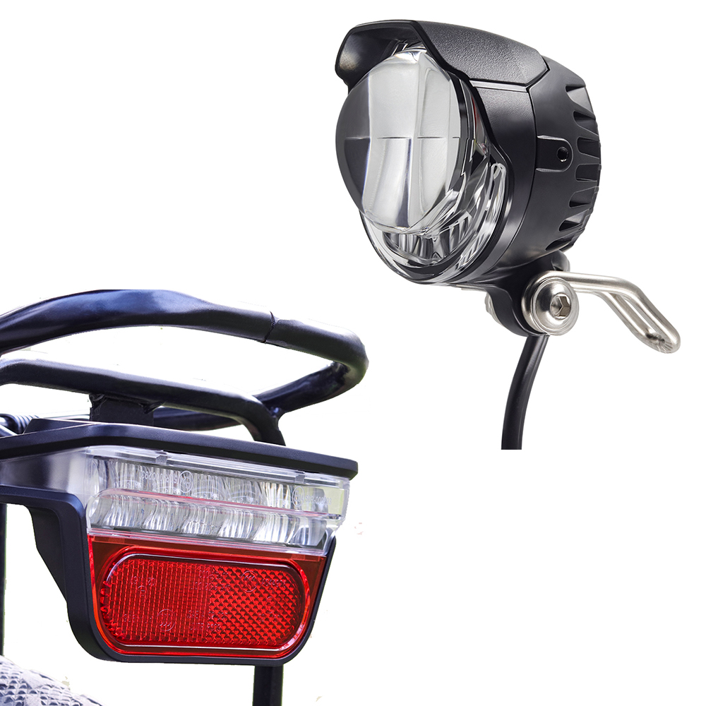 Onature E Bike Light Set Headlight With 2 Mount Way And LED Ebike Rear Light DC 6V 12V 36V 48V 60V Electric Bicycle Accessories