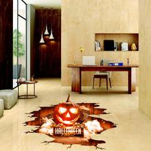 Halloween Wall Floor Pumpkin Skull Decal Sticker Mural Home Party Decoration Easy to Apply Water Resistant купить недорого в Москве
