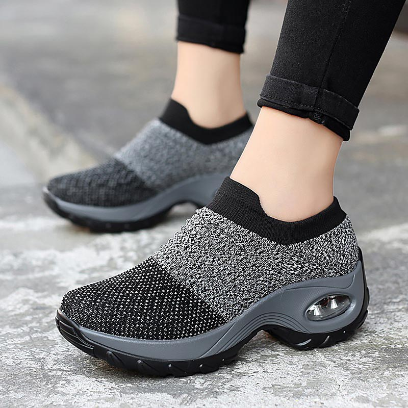 Shoes Woman 2019 New Convenient Slip-on Air Cushion Casual Ladies Shoes Woman Breathable Mesh Woman Sneakers Tenis Feminino