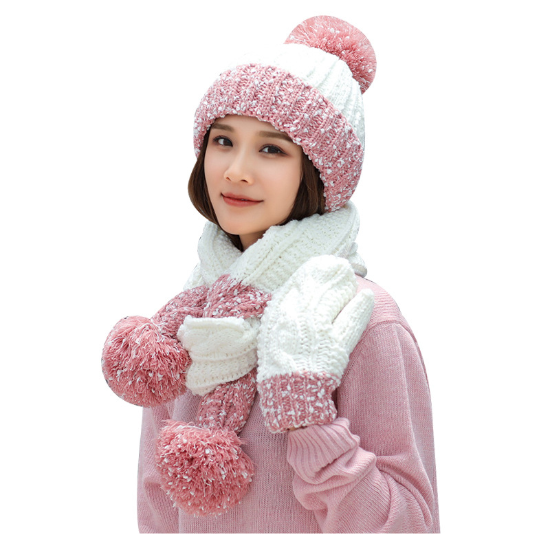 scarfs hats gloves three sets wholesale winter hat and scarf set for women hat gloves set  winter accessories