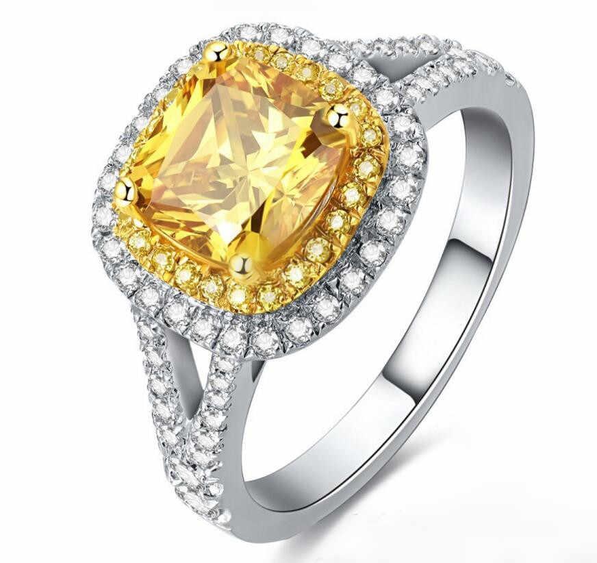 2 קרט סטרלינג כסף 925 טבעת כפולה טבעת דיאמנט S925 טבעת צהוב דיאמנט יוקרה (YD)