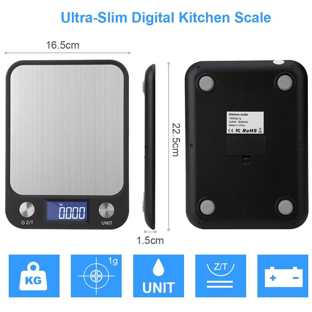 Кухонные весы из нержавеющей стали с ЖК-дисплеем, 5-10 кг/1 г, 0,1 г-4