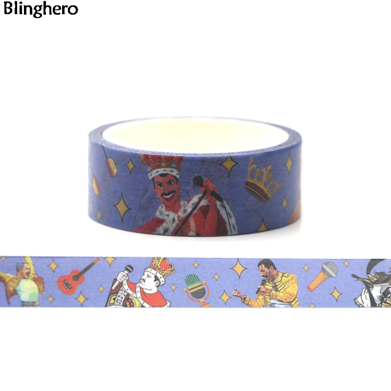 Blinghero Freddy Mercury 15mmX5m Washi Tap Cool Masking Tape Adhesive Tapes Sticker Decorative Tapes Personalized Decal BH0018