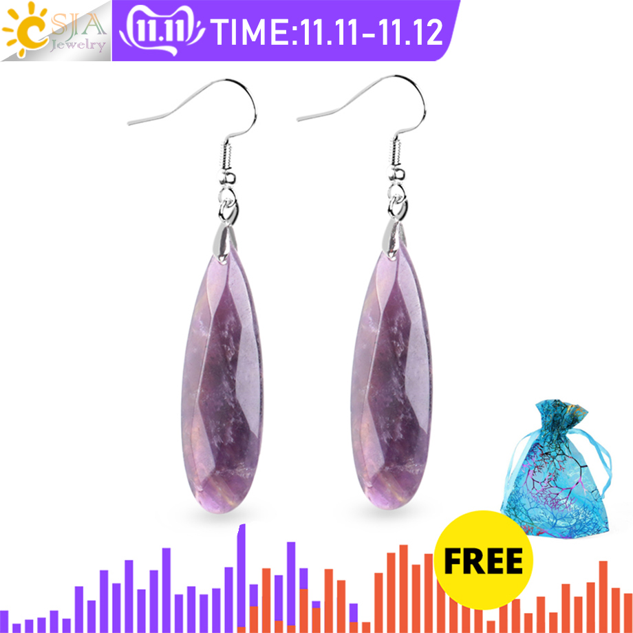 CSJA Natural Stone Earrings Reiki Gem Stone Beads Dangle Hook Drop Earring Vintage Polygon 5 Color for Female Jewelry Gift E941