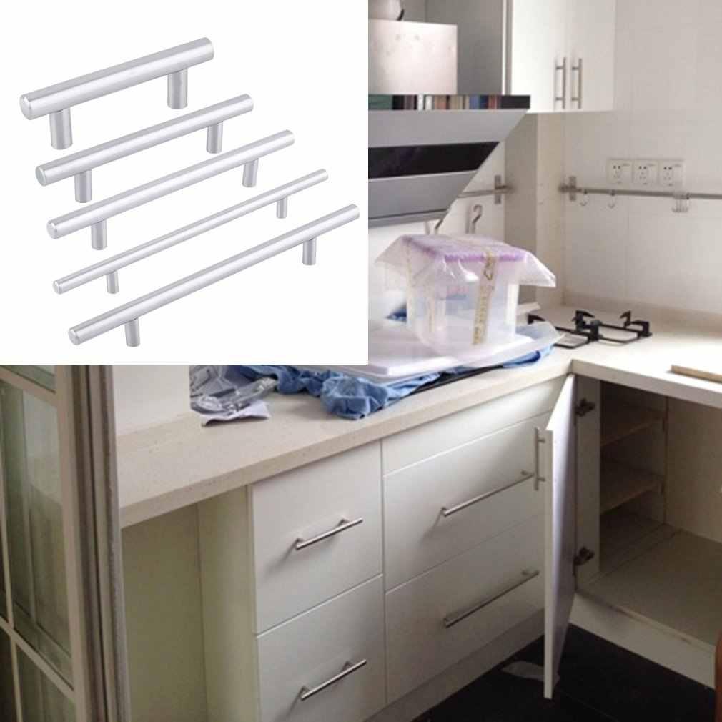 Práctico gabinete de cocina manijas agujero Cebter 64mm ~ 300mm puerta de acero inoxidable T Bar pomo de cajón de mueble manijas tiradores