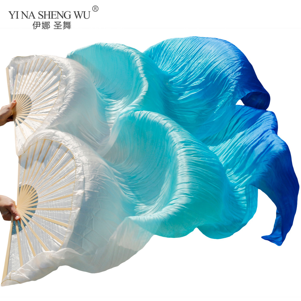 100% Real/imitation Silk Belly Dance Silk Fans 1 Pair Handmade Dyed Silk Belly Dance Long Fan Chinese Dance Fans Veil 24 Colors