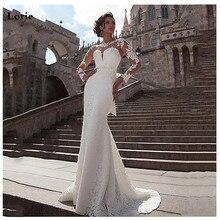 לורי בת ים חתונה שמלה 2019 ארוך שרוולי תחרת אפליקציות כלה שמלת כפתורים בחזרה חוף שמלות כלה