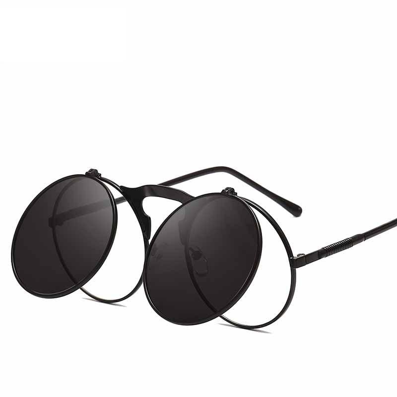 Polarized Steampunk Goth Goggles Glasses Retro Flip Up Round Sunglasse Eyewear O
