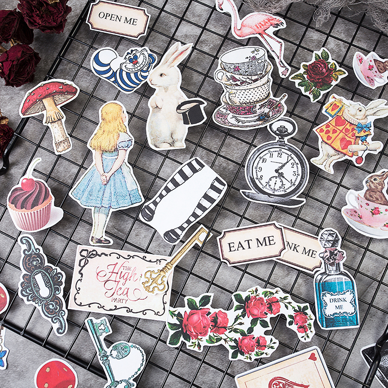 30PCS/bag Vintage Alice Series Stickers DIY Scrapbooking Junk Journal Album Diary Happy Plan Decorative Stickers