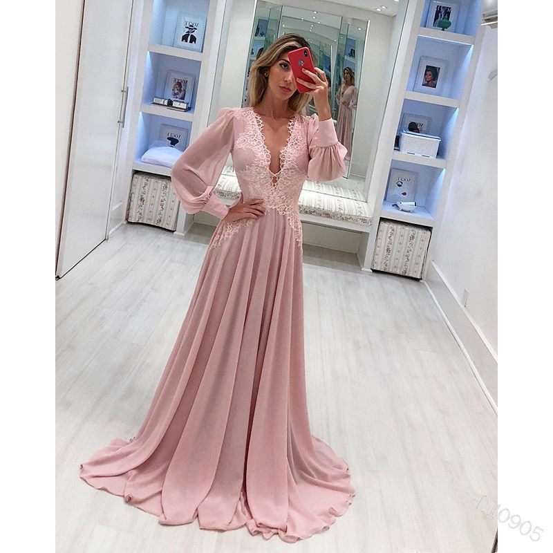 Long Sleeve Dress Women V Neck High Street Dance Wedding Prom Party Night Vacation Beach Femme Bridesmaid Chiffon Sexy Dresses image