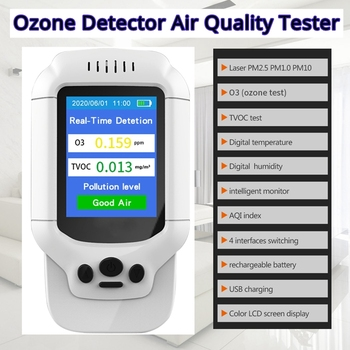 PM2.5 Ozone O3 Detector Air Quality Tester TVOC USB Instrument 2.8 LCD Screen Carbon Dioxide Formaldehyde Dust Haze Meter