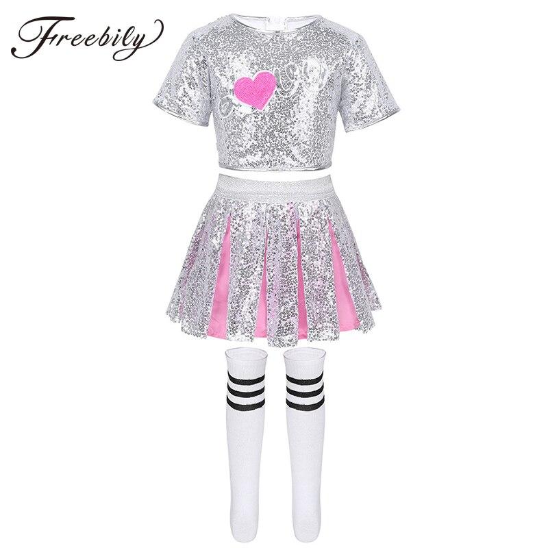 Kids Girls Jazz Hip Hop Modern Dance Rave Costumes Outfit Sparkling Sequins Crop Tops With Skirt Striped Socks Dancewear Set