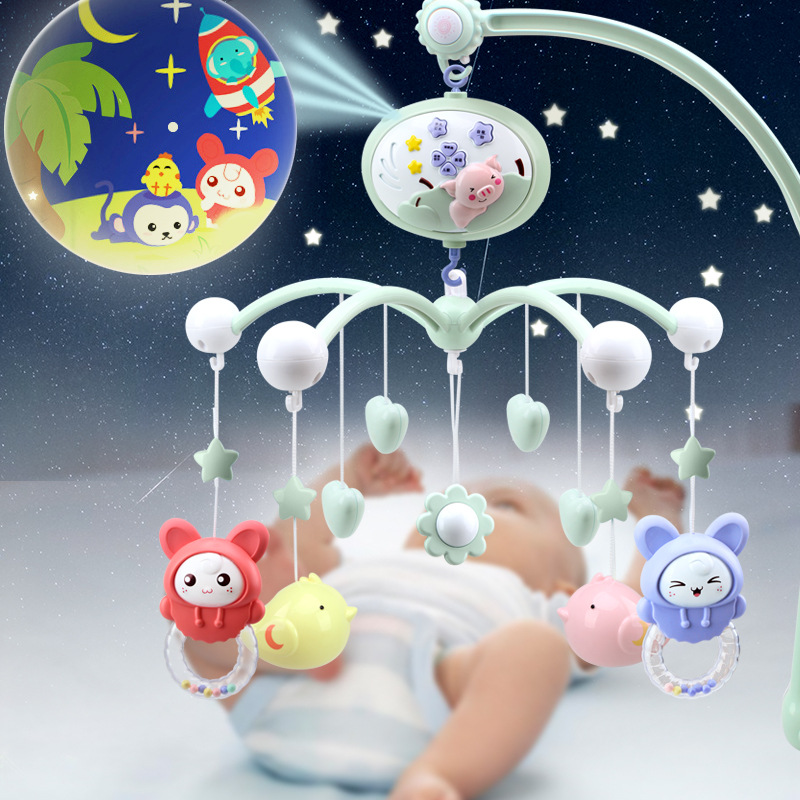 Music Baby Toys Infant Plastic Rattles 0-12 Months Bed Wind Bell Drum Baby Crib Mobile Teether Nativity Toys For Newborns AA50YL