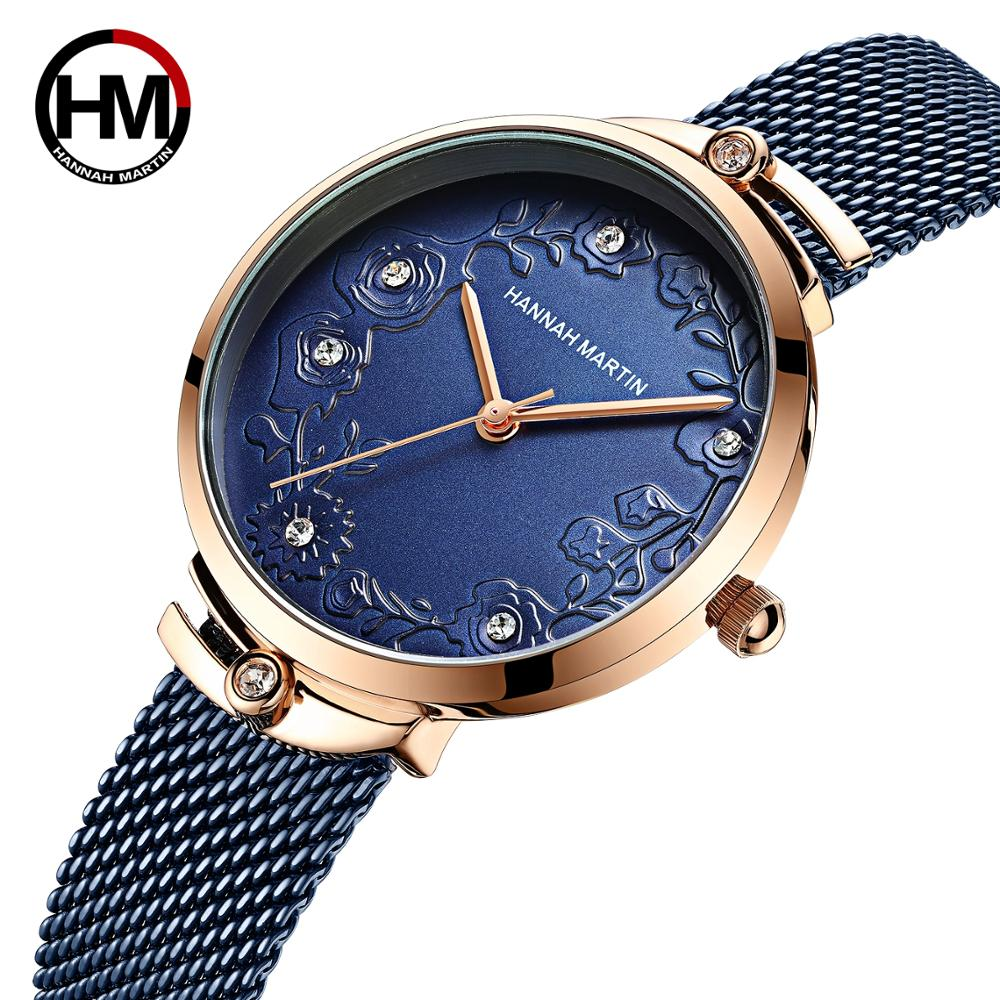 2020 New Arrivial MIYOTA 2035 Quart Movement Design Wristwatches Rose Gold Blue Stainless Steel Rhinestones Watches For Women|Women's Watches| - AliExpress