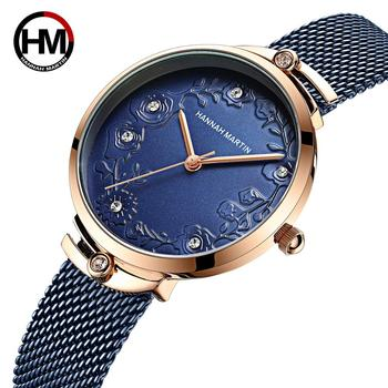 2020 New Arrivial MIYOTA 2035 Quart Movement Design Wristwatches Rose Gold Blue Stainless Steel Rhinestones Watches For Women