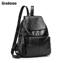 Gradosoo Backpack Women Leather Schoolbag For Girls Multifunction Travel Female Bags LBF606
