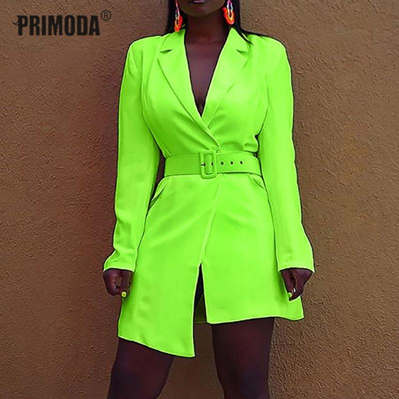 Autumn New Blazer Women's Fashion Long Sleeve Neon Orange Blazer Suit Fluorescent Yellow Jacket Blazers Club Party Suits PR755G