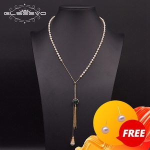 GLSEEVO Natural Freshwater Pearl Adjustable Tassel Long Pendant Necklace For Women Wedding Sweater Chain Luxury Jewelry GN0182
