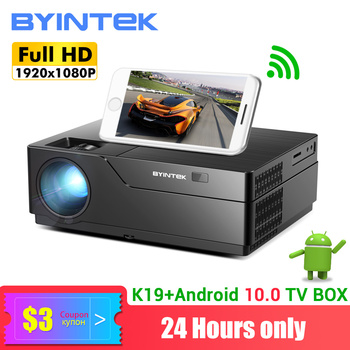 BYINTEK K19 Full HD 1080P Projector(Optional Android 10.0 TV Box),300inch 1920x1080 Video Beamer,LED  Proyector for 3D 4K Cinema byintek moon gp90 1280x800 cinema usb full hd video wxga led hdmi vga 1080p home theater projector beamer projetor proyector