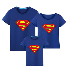 цена на Mommy And Me Superman Family Matching T shirts Quality Cotton Summer Mother and Daughter Father and Son Clothes Print T-shirt