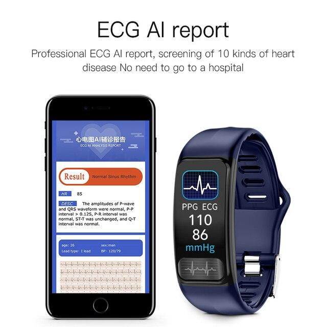 P12 ECG PPG SPO2 smart bracelet heart rate oxygen monitor blood pressure smart belt IP67 waterproof call reminder sports Band 4
