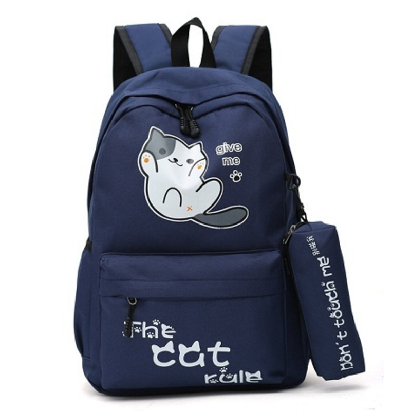 Campus Style Cute Cat Backpacks Students Girls School Bags For Boys Schoolbag Backpack Cartoon Bagpack Mochila Feminina Kids Bag