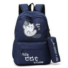 Kampüs tarzı sevimli kedi sırt çantaları öğrencileri kızlar okul çantaları okul çantası sırt çantası karikatür sırt çantası Mochila Feminina çocuk çantası