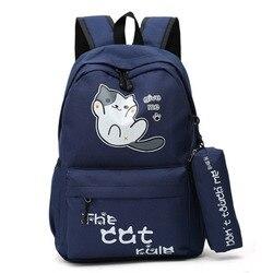 Styl obozowy słodki kociak plecaki studenci dziewczęta torby szkolne dla chłopców tornister plecak Cartoon Bagpack Mochila Feminina torba dla dzieci w Torby szkolne od Bagaże i torby na