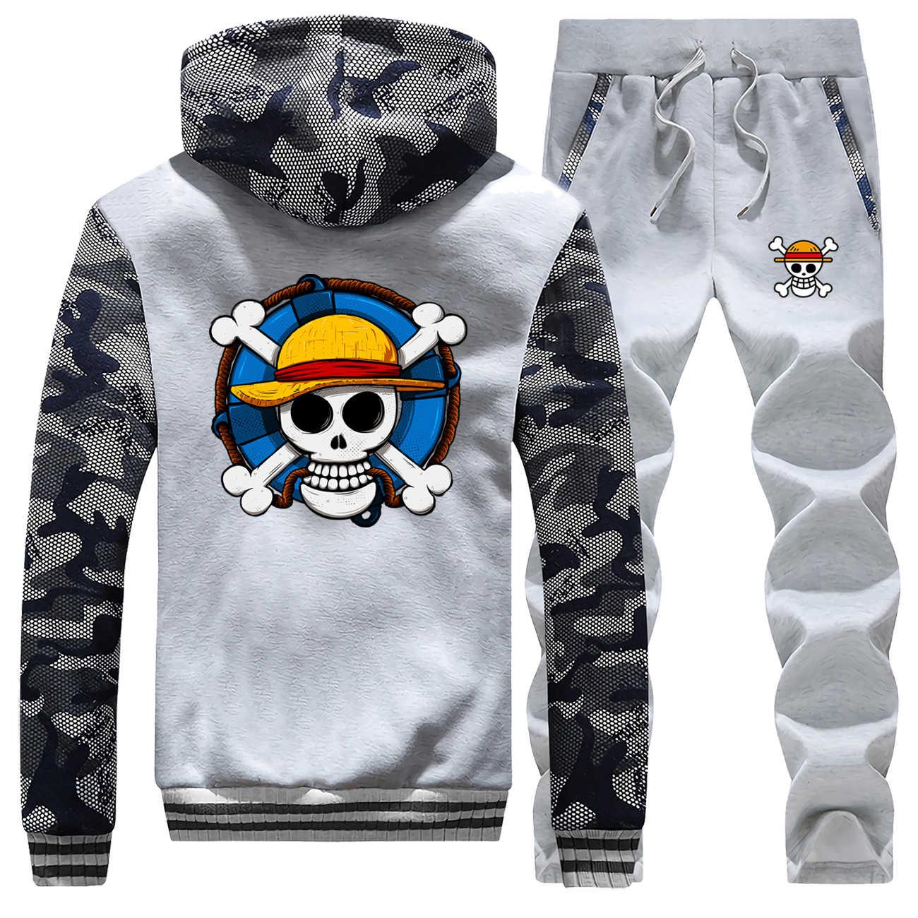 Schädel Anime hoodies sweatshirts Mens Ein Stück Luffy Starke Trainingsanzug Hüfte hop Zipper Winter Jacke + Hosen Männer Japanischen Streetwear