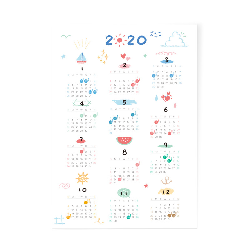 3 Sheets/Set 2020 Creative Calendar Sticker Label  Sticker Schedule Planner