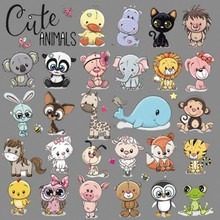1 Set Cute Samll Animals Iron On Patches For DIY Heat Transfer Clothes