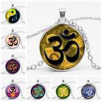 Fashion OHM Vintage Glass Dome Necklace Buddhism Chakra Cabochon Pendant Jewelry Om India Yoga Mandala Necklaces for Unisex