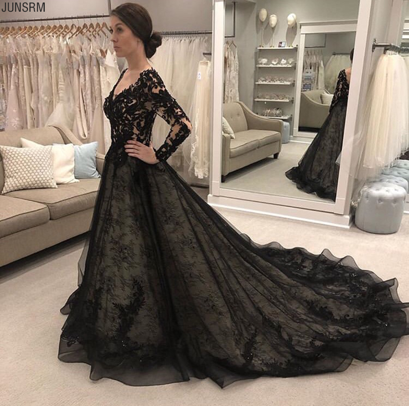Gorgeous Black Wedding Dresses Long Sleeves Double V Neck Lace Bridal Gowns A-line Appliques Beaded Outdoor Bridal Dress Custom