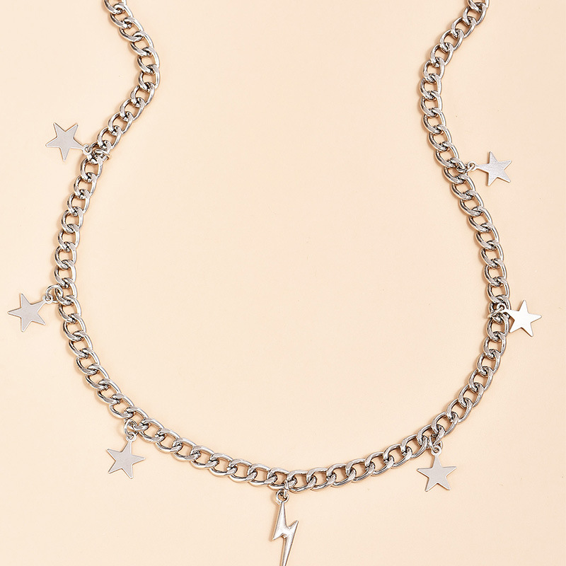 New Vintage Lightning Five-pointed Star Thick Chain Pendant Necklaces For Women 2020 Fashion Female Necklace Jewelry Girl Gift