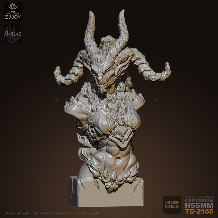 55mm Resin Bust Kits Horned Warcraft Bust Model Self-assembled RTD-2165