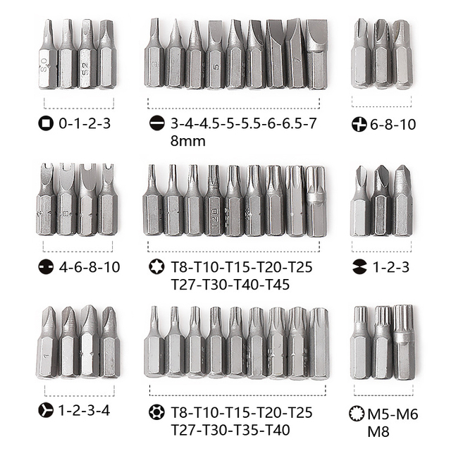 PROSTORMER 100pcs Screwdriver Bit Set Security Chrome Vanadium CR-V Steel Hex Key Phillips Slotted Tri-Wing Repair Hand Tool Kit 4
