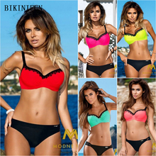 New Sexy Lace Bordered Bikini Women Swimsuit Solid Bathing Suit S-2XL Adjustable Straps Swimwear Girl Retro Bodysuit Bikini Set ring linked adjustable straps bikini set