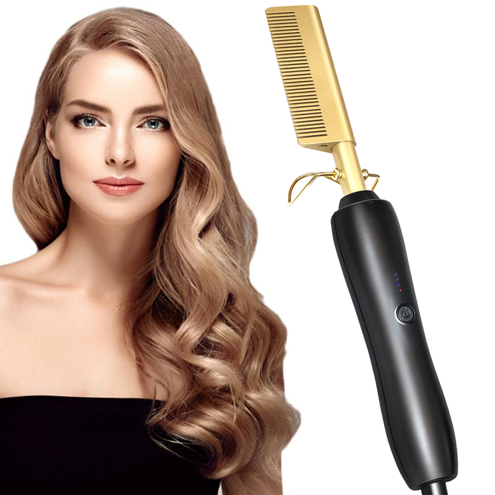 Electric Comb Straightener Wand Hair Curling Irons Hair Curler Hot Comb Hot Straightening Electric Comb Hair Care Titanium Alloy