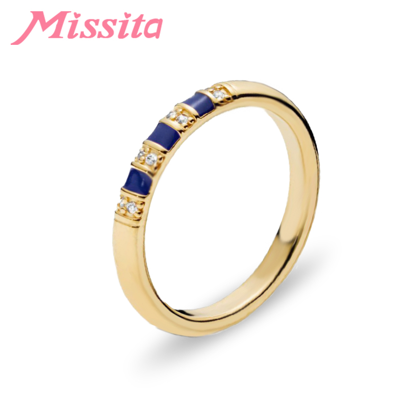 MISSITA Gold Exotic Blue Striped Rings for Women Wedding Finger Ring Gift Brand Fashion Jewelry anillos mujer in Rings from Jewelry Accessories