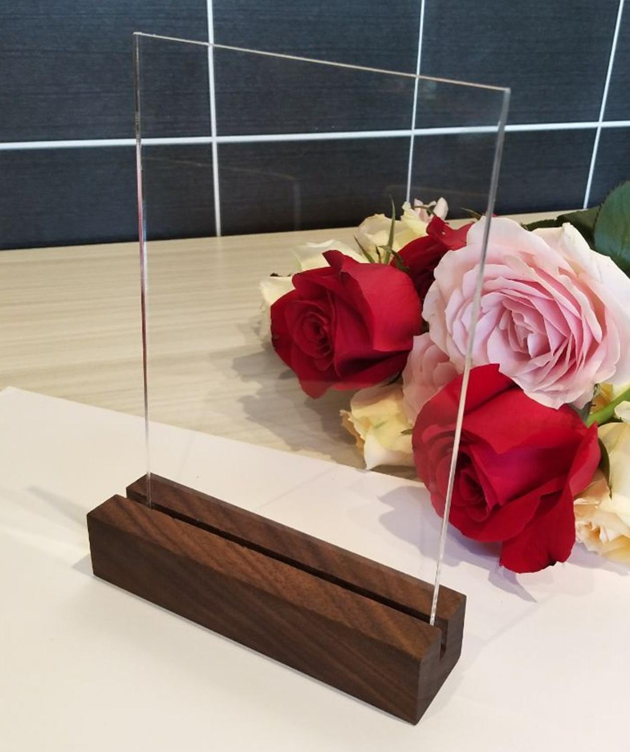 5SETS of Blank Acrylic Sign Sheets with Rustic Walnut Wood Stands,Acrylic Table Number with Wood Holder