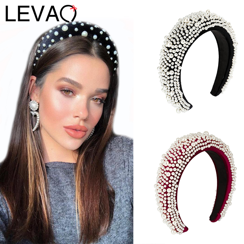 LEVAO New Women Vintage Full Pearl Padded Sponge Headband Bezel Turban Elegant Lady Hairbands Girls Hair Accessories Hair Hoop