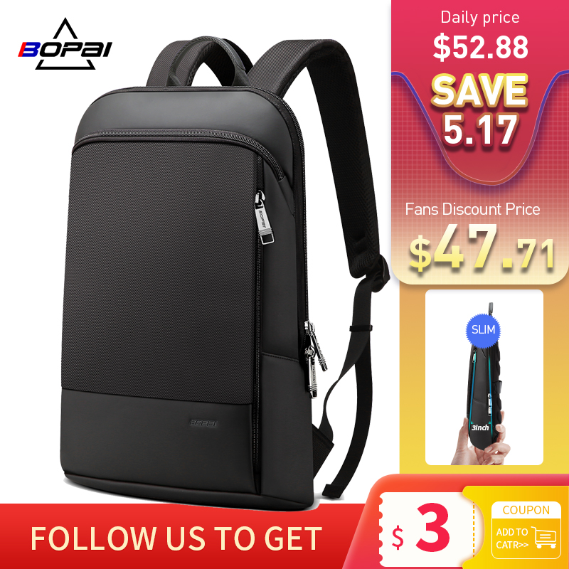 BOPAI Slim מחשב נייד תרמיל גברים 15.6 אינץ חבילת משרד עבודת נשים Bagpack עסקים אנטי גניבה יוניסקס שחור דק אור תרמילאים
