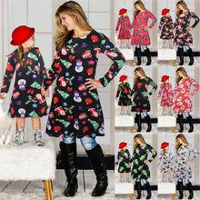 Рождественская семейная одежда платья с длинным рукавом для
