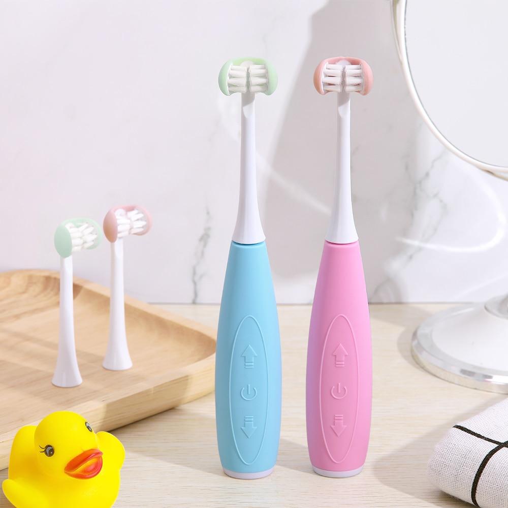 5 modo sonic escova de dentes eletrica criancas tres lado usb recarregavel 3d ultra sonic em